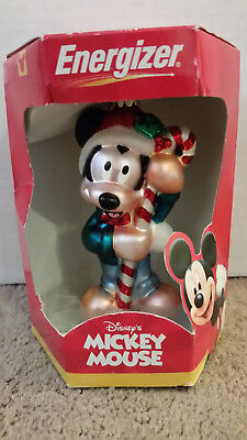 Disney's Mickey Mouse Glass Ornament with Candy Cane Energizer Christmas 2000