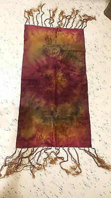 "Antique VICTORIAN VELVET DYED FRINGED TABLE RUNNER Gold, Maroon 34""x18"""