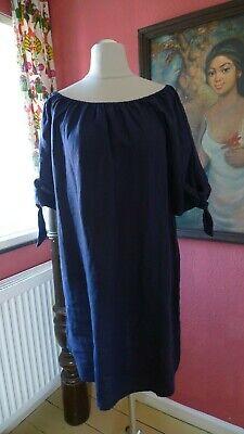 Sommerkleid  100 % Leinen  Marine Blau - Marine Kleid Blau