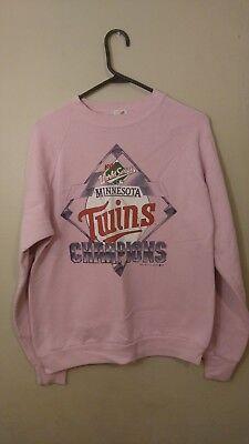 Vintage 1987 Minnesota Twins World Series Pink Crew Neck Sweatshirt / Sweater