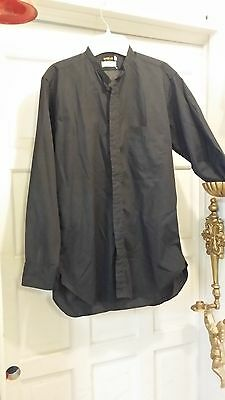 VINTAGE M H PIERCE & CO CLERICAL NECKBAND SHIRT BLACK LONG SLEEVE 15/33