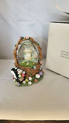 Water SNOW GLOBE Disney THUMPER Basket Flower Skunk Musical Easter Parade RARE