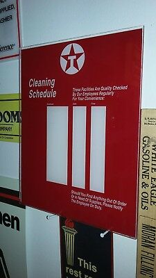 Texaco Gas Oil Service Filling Station Restroom Door Cleaning Schedule Sign