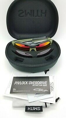 NEW Smith Pivlock Sunglasses NRA Green Black Red Mirror and Rose 2 Lens Set (Black And Red Sunglasses)