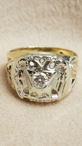 10K Yellow Gold Masonic Diamond Ring Double Headed Eagle 32 Degree Size 10