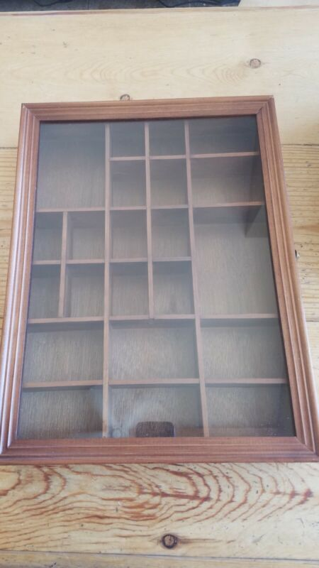 Wood Shadow Box Display Case Curio Knickknack Thimble Cabinet Hanging 22 Spots
