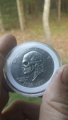 Coalburn Hobo Nickel engraved Love Token carved OHNS Eisenhower dollar skull