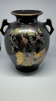 Vintage Black Japanese Porcelain Kutani Cloisonne Pheasant Vase