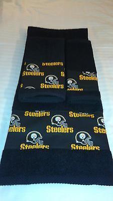 Pittsburgh Steelers 3 Piece Bath Towel Set Handmade  GREAT GIFT!!! (Steelers Towel Bath)