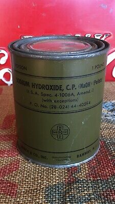 Vietnam Era U.S. Military Issue ~ Sodium Hydroxide Unopened Can NOS