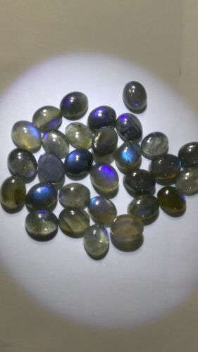 NATURAL OVAL SHAPE NEON BLUE SHEEN LABRADORITE AVG SIZE 9 X 7 mm  14 gms.28Pcs.