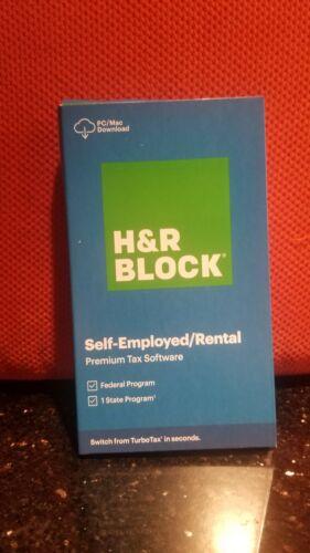 2020 H&R BLOCK SELF-EMPLOYED RENTAL PREMIUM TAX SOFTWARE FEDERAL STATE PC/Mac
