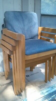 SET OF FOUR MID CENTURY MODERN COMMERCIAL CUSTOM OAK STACKING DINING ARM CHAIRS