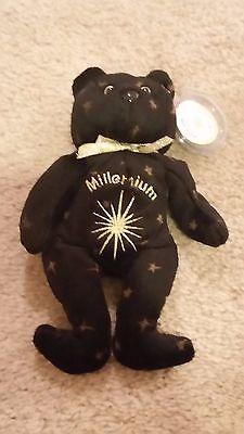 NWT Celebrity Bears Millennium 2000 Gold & Black Embroidered Bean Bag Plush Toy
