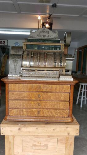 Antique, 4 Drawer National Cash Register, c.a. 1890-1900s Solid Quarter Sawn Oak