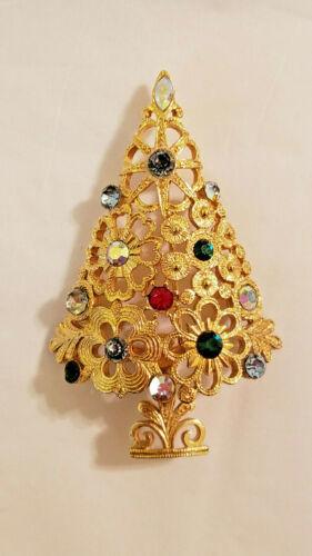 VINTAGE MYLU CHRISTMAS TREE BROOCH PIN SIGNED