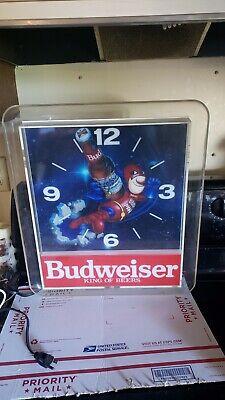 Vintage Budweiser Bud Man BEER Clock Light Advertising Man Cave D&S 017-635