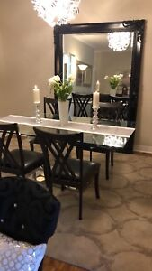Designer Thick Glass and Chrome Channel Dining Table
