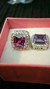 Purple amethyst and cubic zirconia studs 925 plated