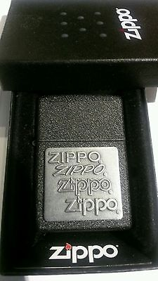 Zippo Pewter Emblem Black Crackle - Zippo Lighter: All 4 Logos - Zippo Pewter Emblem  - Black Crackle #363 - New Box