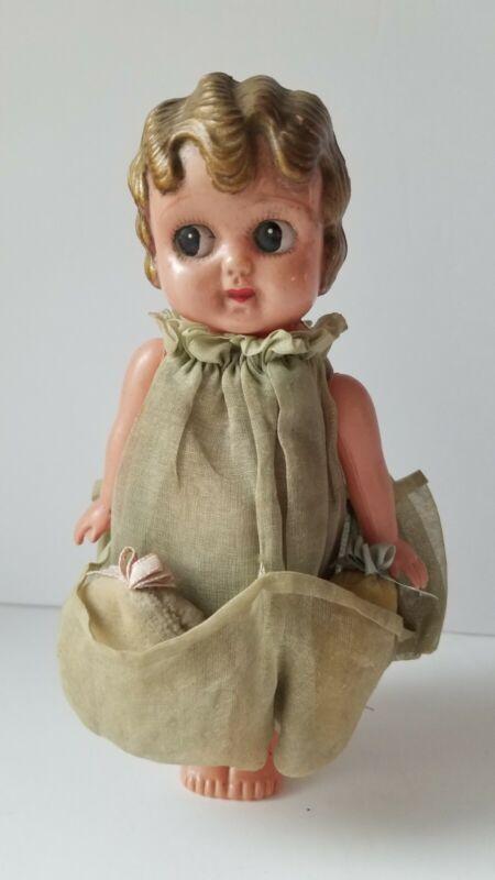 "Vintage Celluloid Kewpie Flapper Style Doll Strung Arms Original Clothes 8"" Gold"