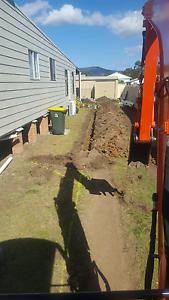 Thor earthworx Excavator hire bobcat posthole leveling  turf prep