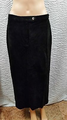 NEW Women's Ralph Lauren Polo Black Suede Long Maxi Pencil Skirt 12P NWT