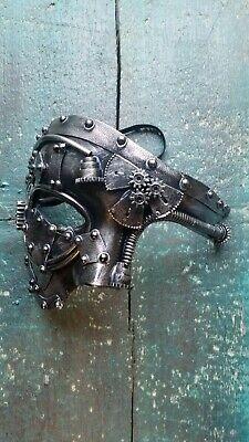 Steampunk Maske silbern Zahnrädern mit Gummiband Kostüm Cosplay Karneval (Silber Maske Kostüm)