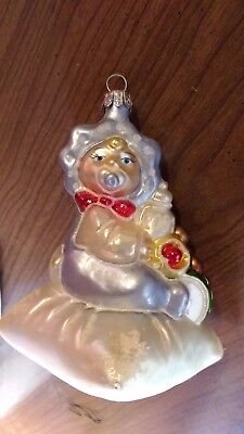 Dillards Hand Crafted Glass Christmas Tree Ornament Baby w/Pacifier and Presents