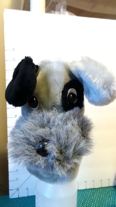 "Puppet, Schnauzer, Dog, Plush Animal, ""Shiner"", by AGS, Item #7128A, Collectible"