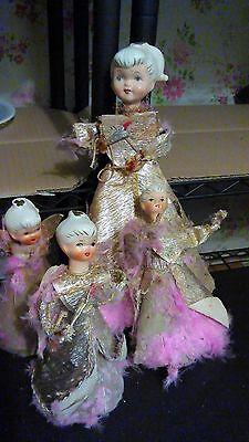 VINTAGE NAPCO CHRISTMAS ANGEL Set of  4 Pink FUR Ceramic heads