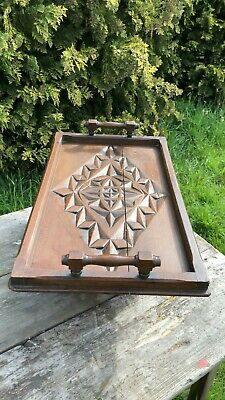 Beautiful Vintage Hand Carved Large Wooden Decorative Serving Tray *