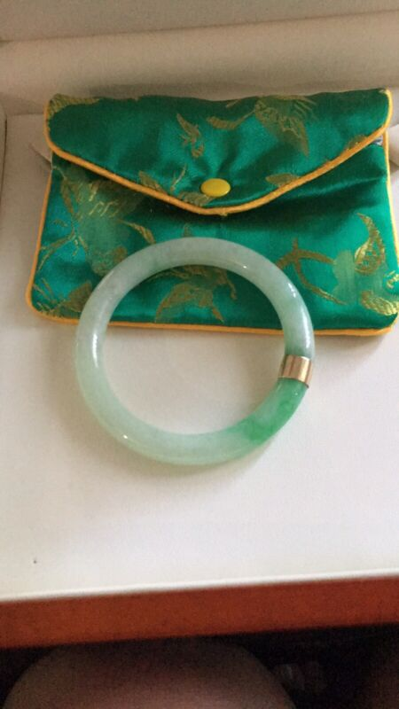 Beautiful Natural Green, White Jade Vintage Bangle Bracelet