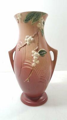 Vintage 1947 Roseville Pink Snowberry IVI-12 2-Handled Vase 12.5 Tall Fc - $32.90