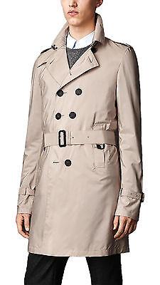 Burberry Prorsum Men's Beige Silk Trench Trench Coat Size 40