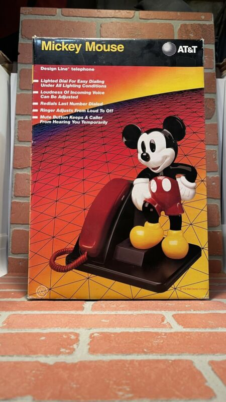 Vintage 1990 MICKEY MOUSE Corded Land Line Touch Tone Telephone AT&T Design NEW