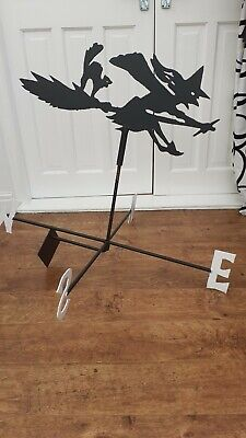 METAL Witch on broomstick Weathervane (Vertical Fixing Bracket)