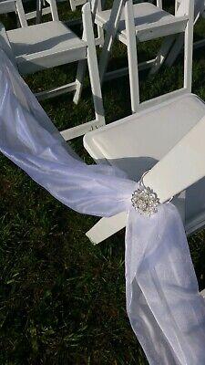 WEDDING STUNNING WHITE FABRIC DRAPING FOR AISLE/CHAIRS + 24 RHINESTONE BROACHES