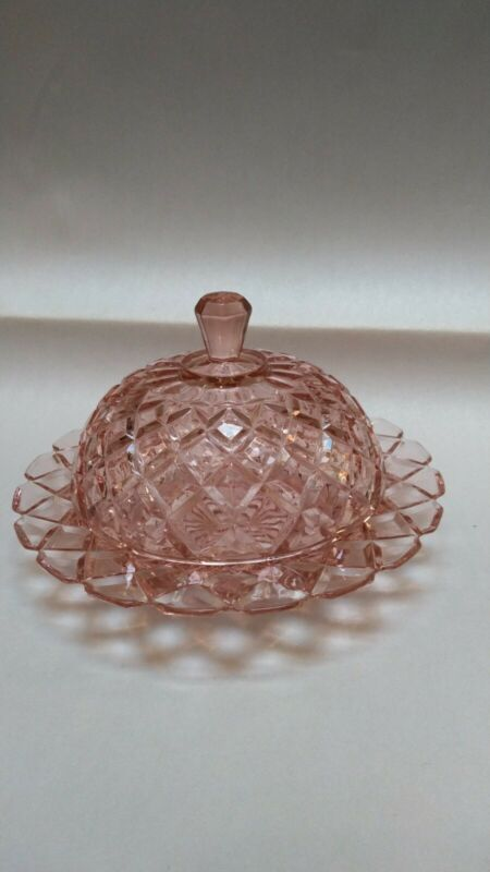 "Waterford ""Waffle"" Covered Butter Dish, Pink"