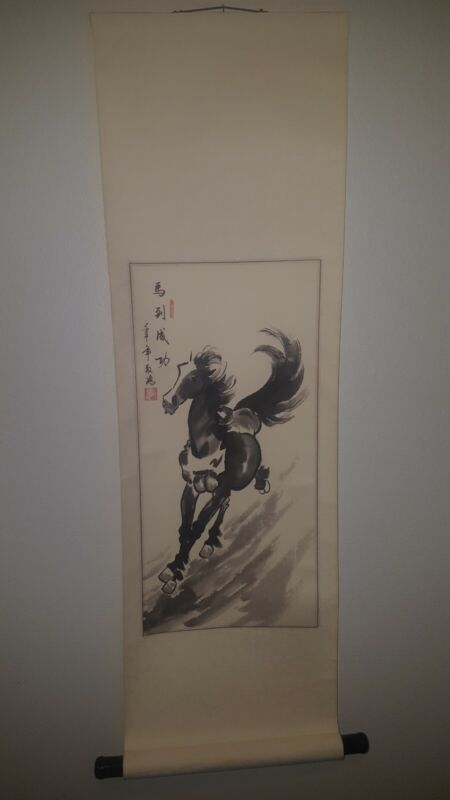 Asian scroll hand painted Chinese Art modern vintage horse wall feng shui zen