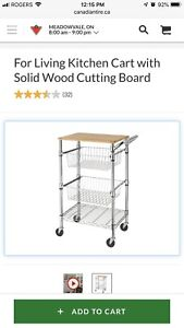 Kitchen Cart With Solid Wood Cutting Board  $80