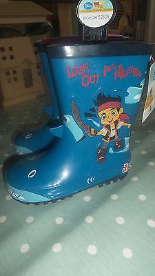 Jake Pirate Boots (Tu Disney Jake & The Neverland Pirates Boys Wellingtons Rain Boots Size 8 )