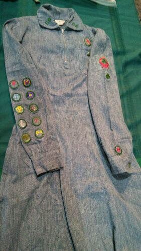 Vintage Official Girl Scout Uniform, 1939-1942  w/ hat and RED SCARF