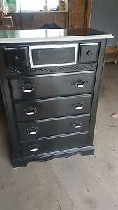 SET OF 2 BLACK AND GRAY SHABBY CHIC DRESSERS and SHELVING UNIT