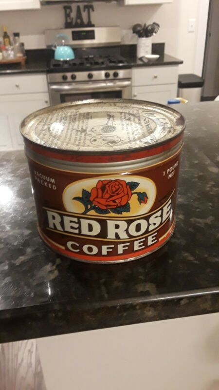 NICE Rare Vintage RED ROSE COFFEE Tin Can 1 pound GREAT COLORS.