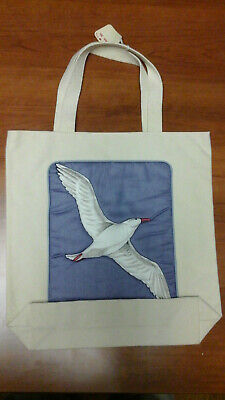 - Vintage White 100% Cotton Canvas Tote Bag with Pocket & Seagull Design