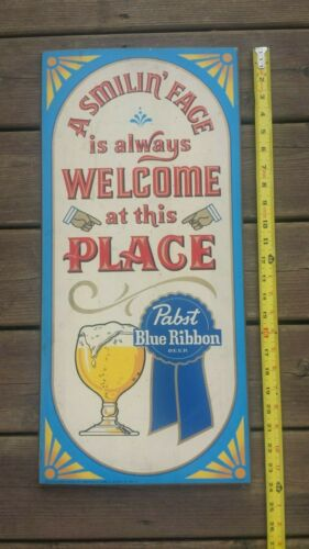 Pabst Blue Ribbon Beer Wooden Sign - A Smilin