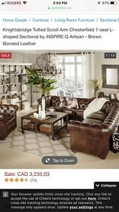 Leather sectional chesterfield