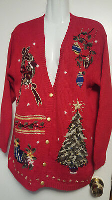Ladies Christmas Cardigan Sweater PETITE SOPHISTICATE Bright Red Sz M Decorated for sale  Shipping to India