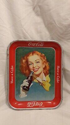 VINTAGE ORIGINAL 1950 COCA COLA TRAY GIRL WITH YELLOW SCARF